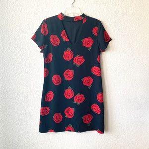Sanctuary Rose Bud Print Choker Neck Shift Dress
